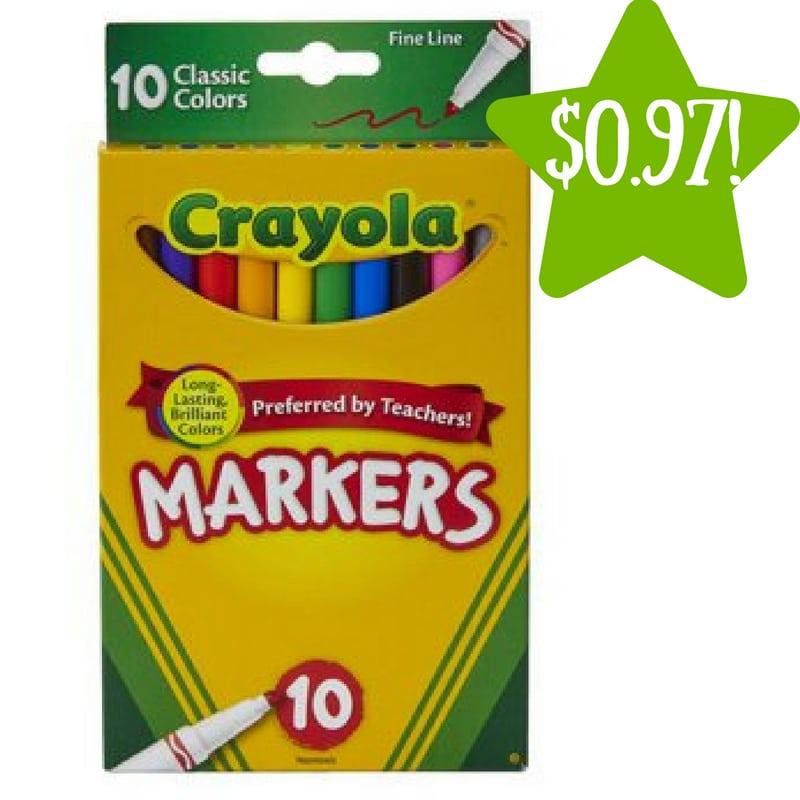 Walmart: Crayola 10 Count Fine Tip Original Markers Only $0.97 (Reg. $3.22)