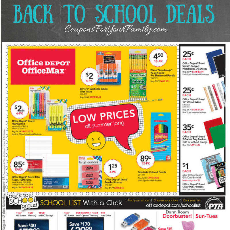 Office Depot Weekly Ad Preview & Back To School Deals 8/12-8/18 are live!