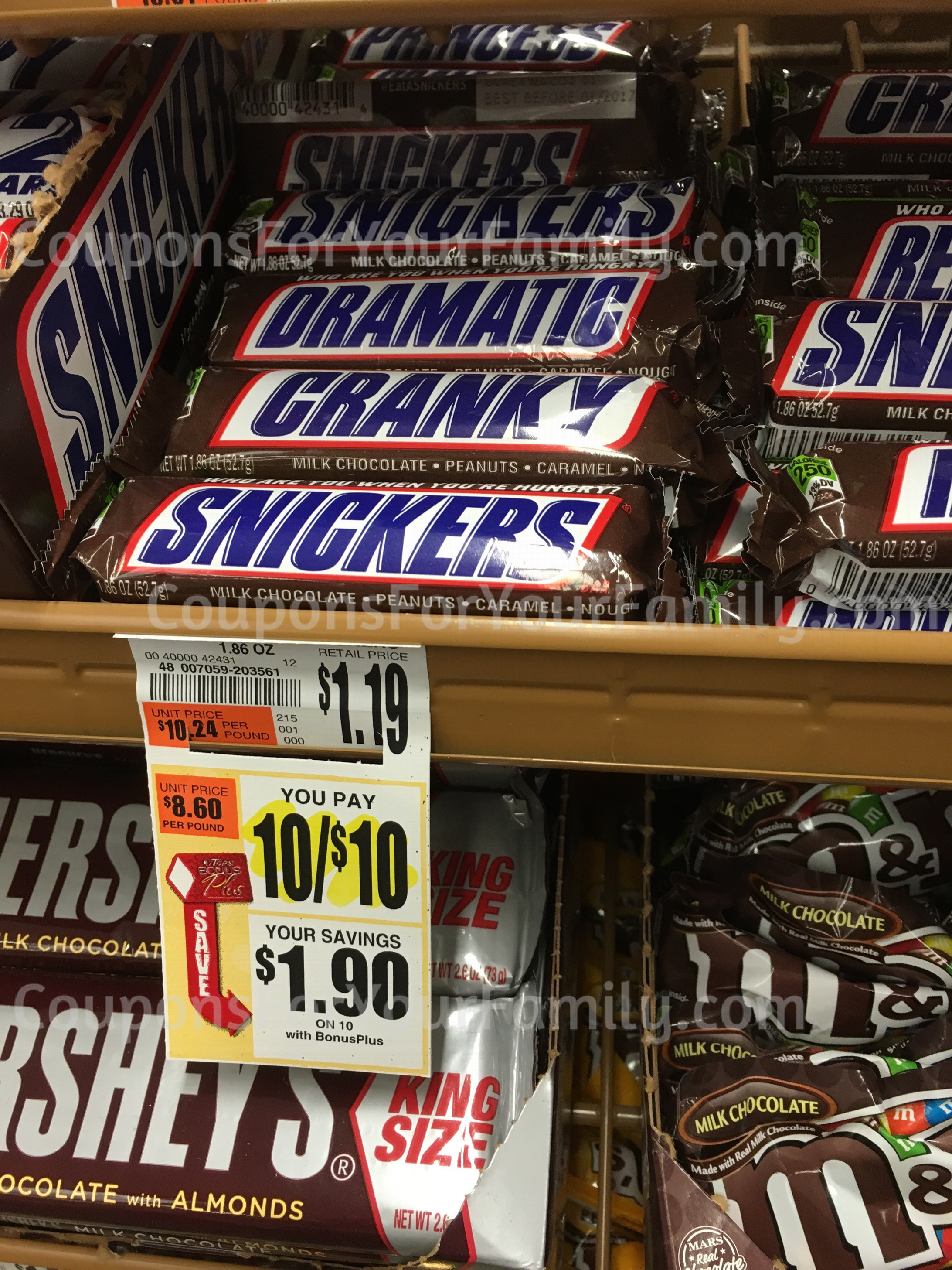 Snickers Bars only $.50 at Tops after new coupon!