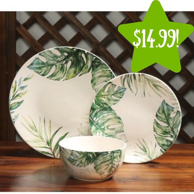 Walmart: Mainstays Botanical Ceramic 12-Piece Dinnerware Set Only $14.99 (Reg. $40)