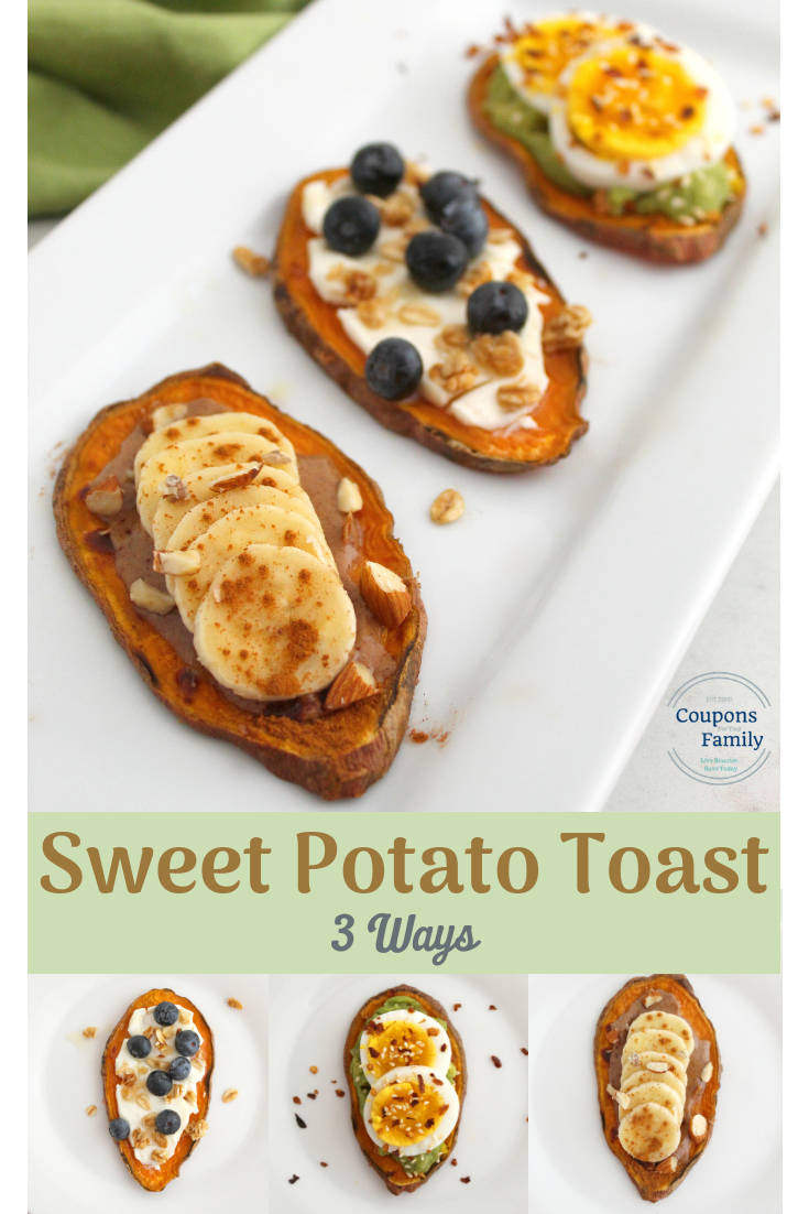 Easy Sweet Potato Toast Recipe with 3 different toppings!