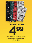 Kohls Doorbuster Deal 2018 LIVE NOW ~ Apt 9 Holiday Leggings ONLY $4.99!!!