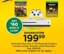 Kohls Doorbuster Deal 2018 LIVE NOW ~ Xbox One S 1TB Minecraft Bundle ONLY $139.99!!!