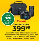 Kohls Doorbuster Deal 2018 LIVE NOW ~  Canon EOS Rebel Camera ONLY $279.99!!!