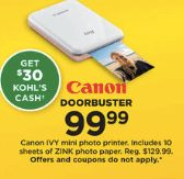 Kohls Doorbuster Deal 2018 LIVE NOW ~  Canon IVY Mini Photo Printer ONLY $69.99!!!