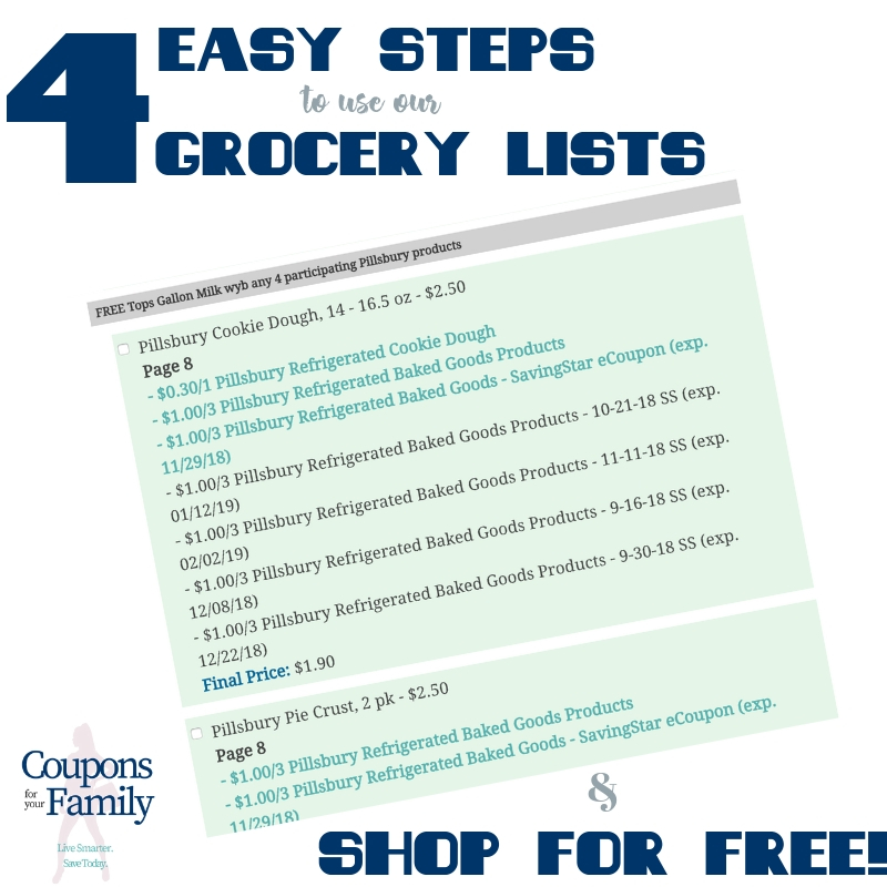 Use our Grocery Lists and Shop for Free