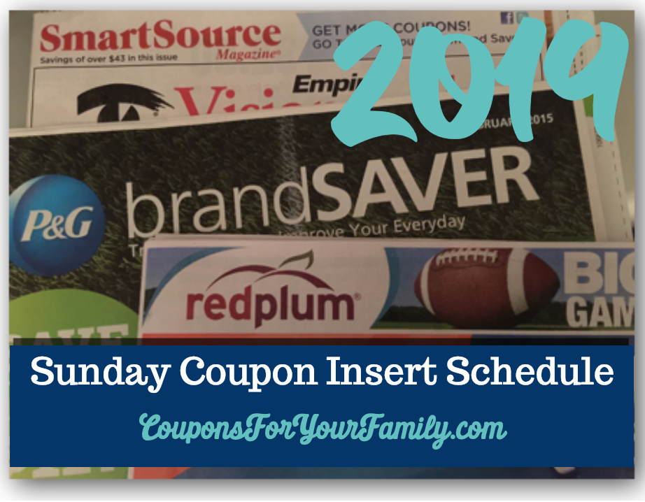 2019 Sunday coupon Inserts schedule