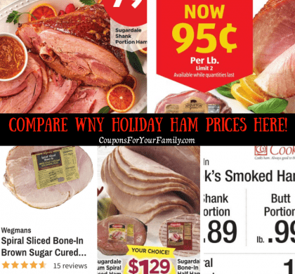 Holiday Ham Price comparison including Honeybaked, Shanks & Spirals as low as $.79lb!