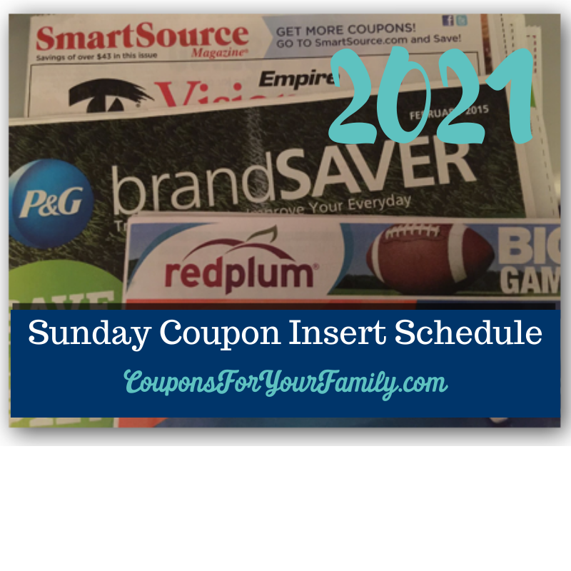 sunday coupon inserts schedule 2021