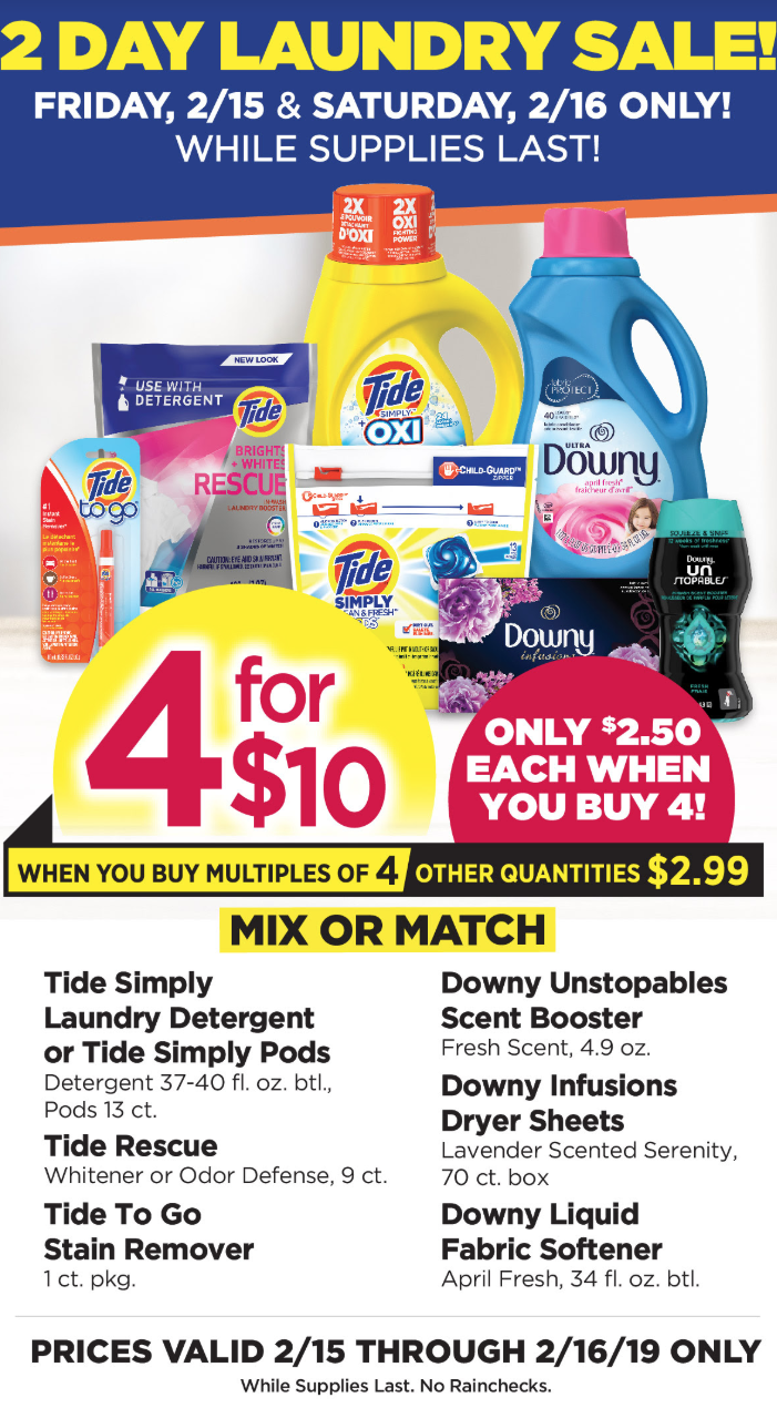 Tops Markets Laundry Sale 2/15 & 2/16 only: Downy as low as $1.50 and more!!!
