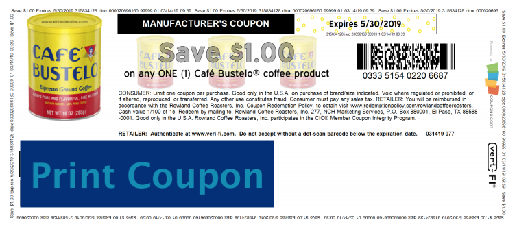 Cafe Bustelo coupons