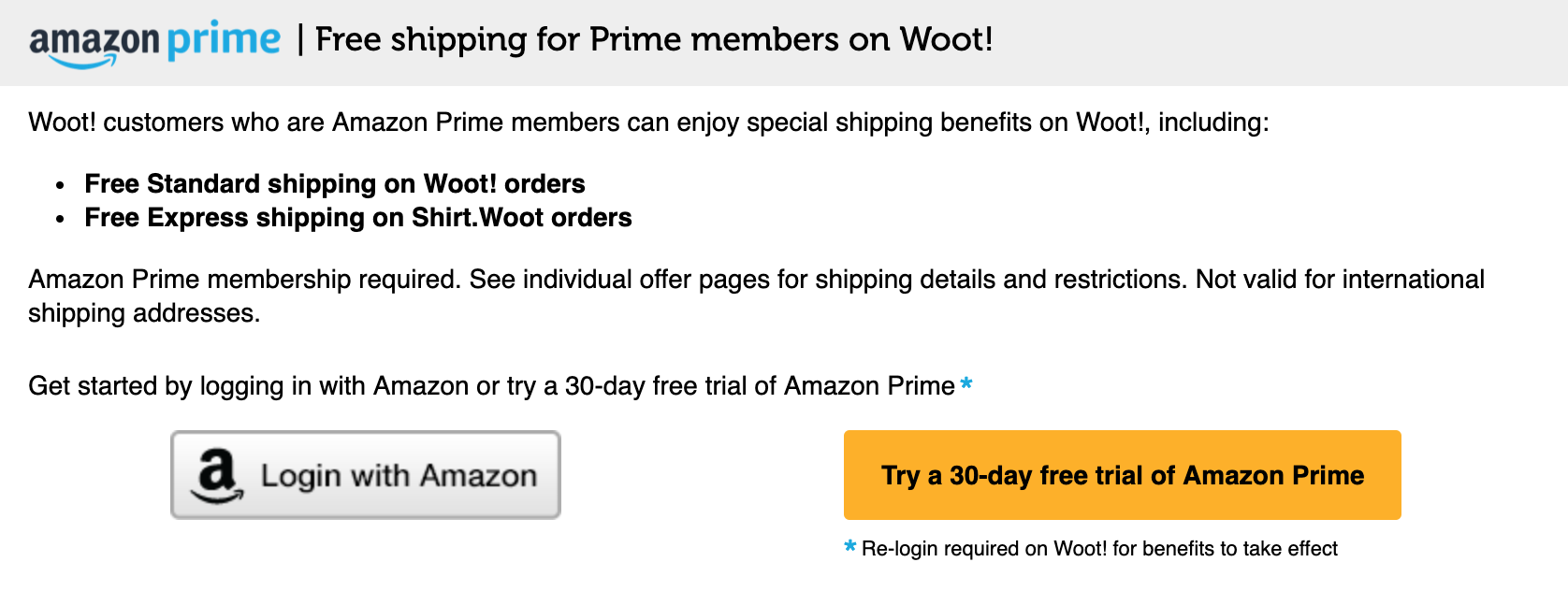 Amazon prime free shipping on Woot purchases
