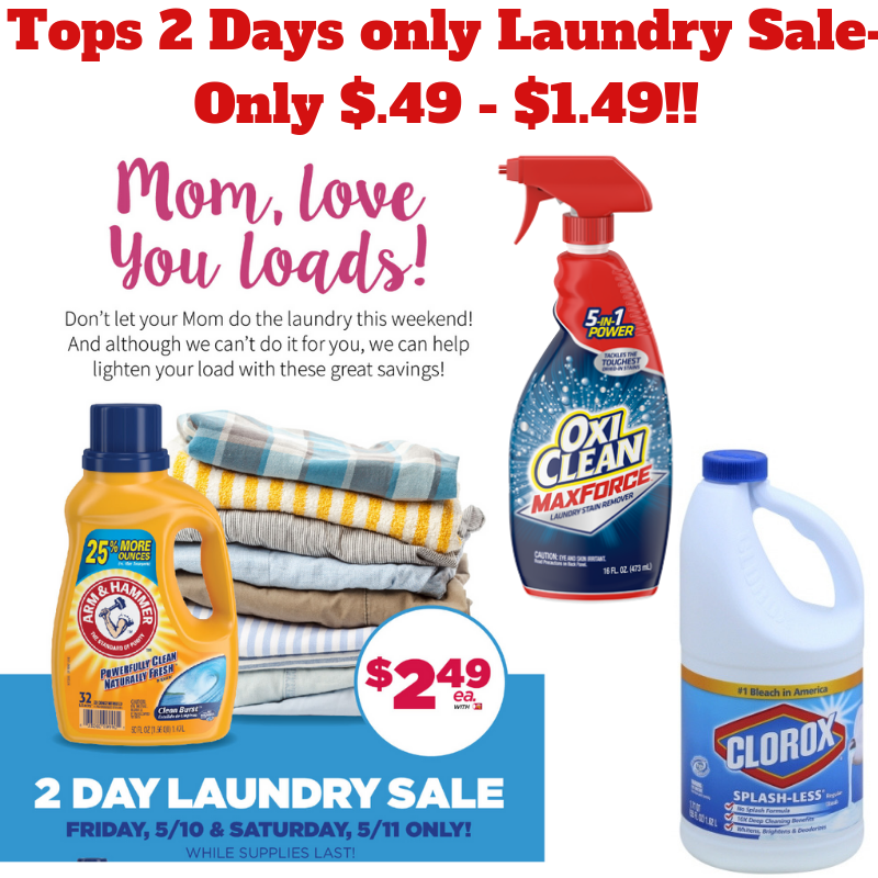 2 Day Laundry Sale- Coupon Deals $.49-$1.49!!