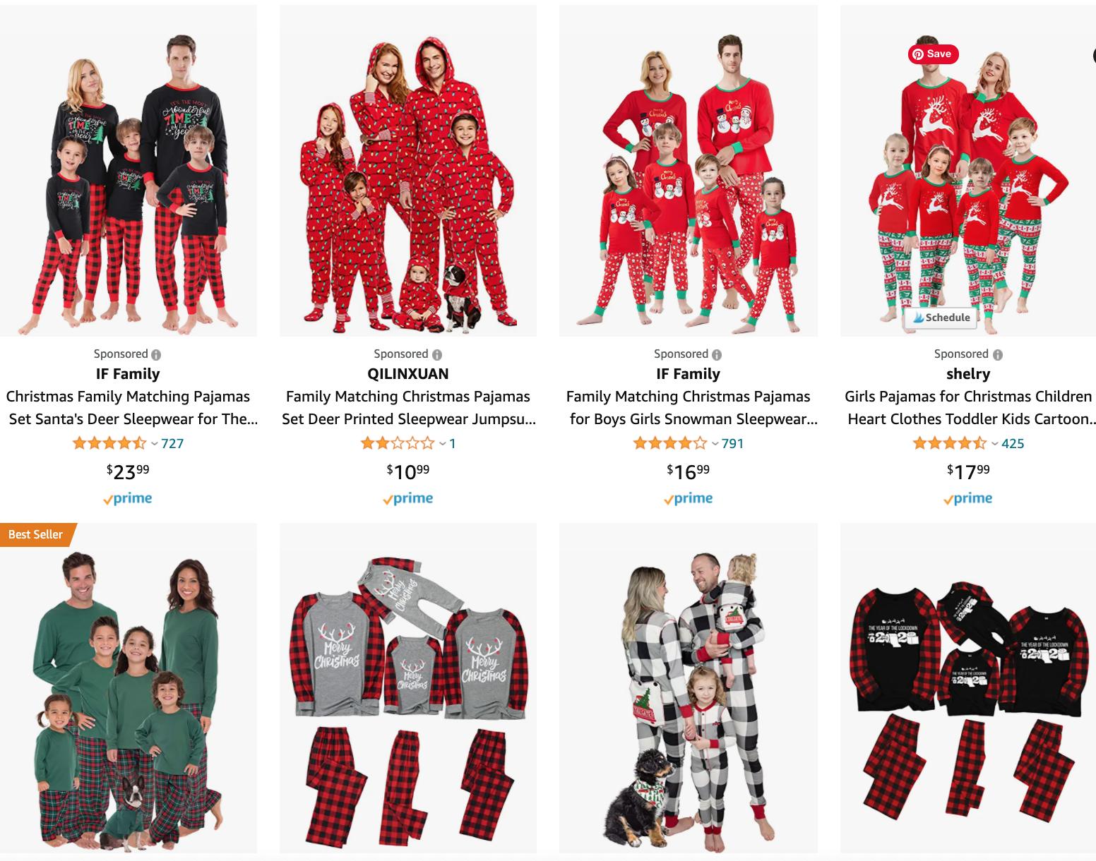Family Christmas pajama sets
