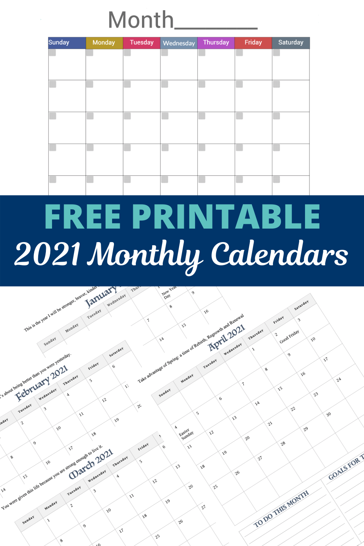 FREE monthly calendars pinterest