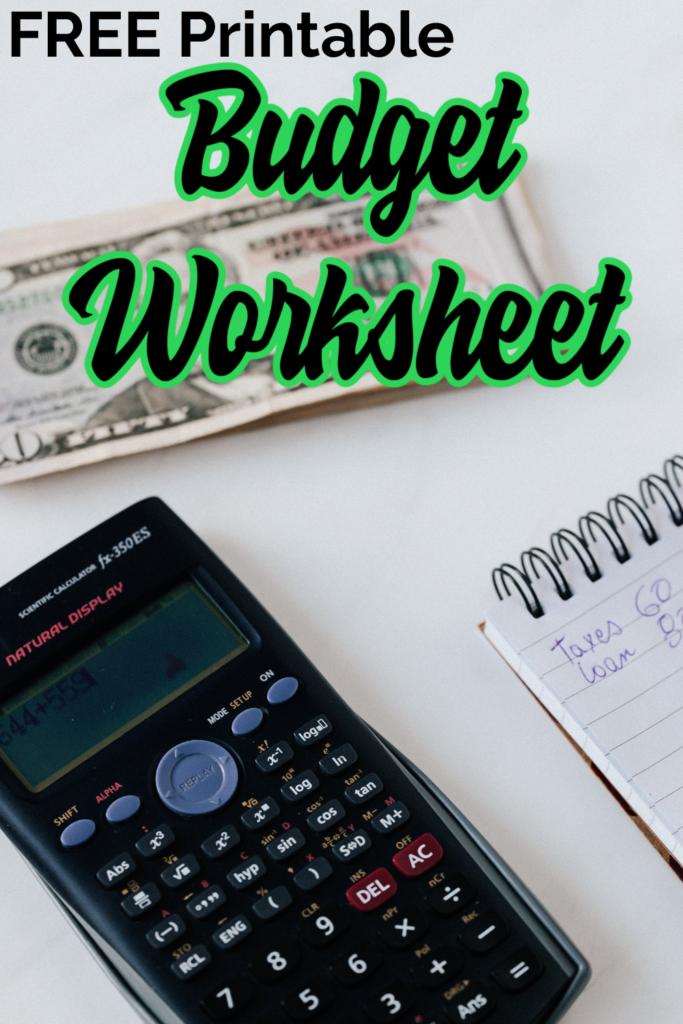 budget worksheet template printable