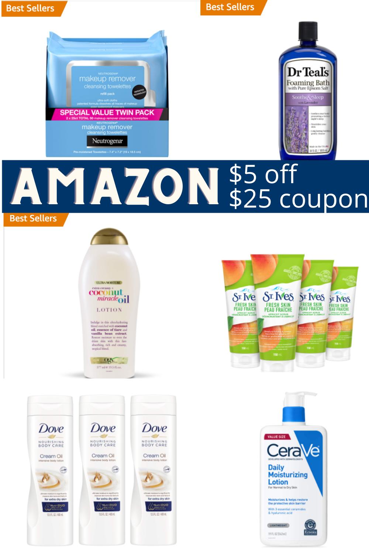 Amazon $5 off $25 skincare coupon