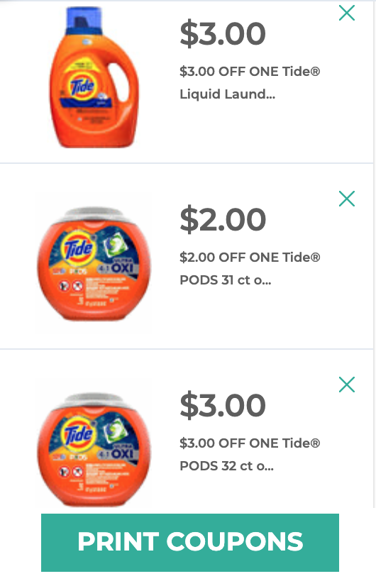 Printable $3 off tide detergent coupons