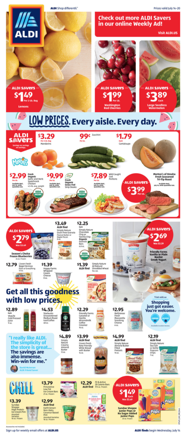 Aldi Weekly Grocery Ad Weds 7:14 pg 1