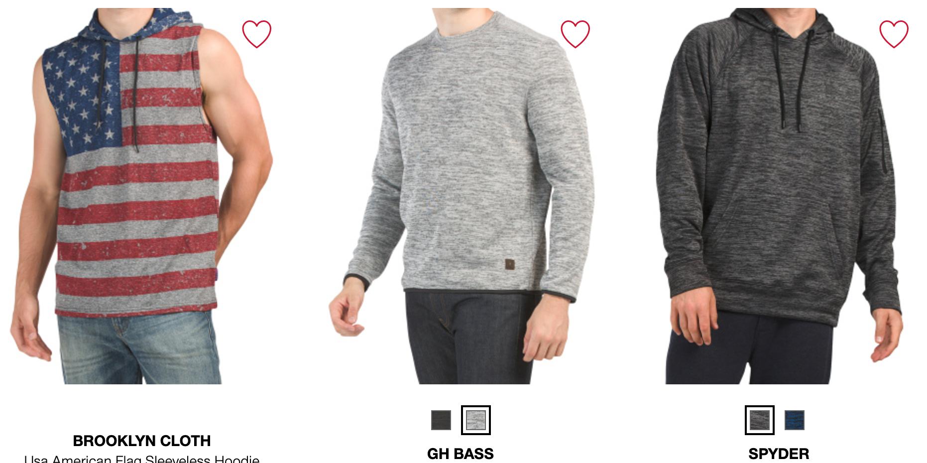 TJ Maxx Mens Hoodies & Sweatshirts